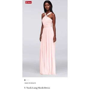 David's Bridal Y-Neck Long Mesh Dress
